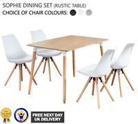 Sophie Dining Set - 4 x Sophie Padded Dining Chairs and Rustic Halo Dining Table