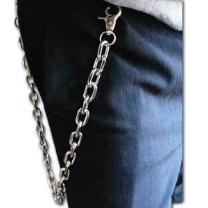 Men Women Silver Metal Wallet Chain Jeans Biker Rocker Biker Chunky Thick S Y7S0