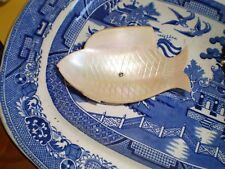 Antique ? Mother Of Pearl Caviar ? Fish Dish On Pedestal Excellent Condition