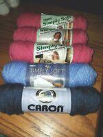 Caron Simply Soft 4 Medium Acrylic Yarn  5 - 3 oz skeins