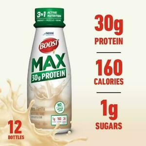 Nestle Boost Max 30g Protein Nutrition shake Very Vanilla 11 oz ( Pack of 12 )