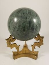 Large Carved Stone Sphere 4 Inch diameter Green Marble with Vintage Brass Stand.