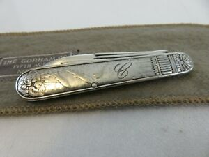Gorham Aesthetic Pond Lily Pad Trout Sterling Folding Fruit Knife & Pouch c1900