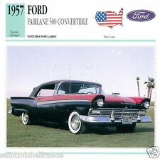 FORD FAIRLANE 500 CONVERTIBLE 1957 CAR VOITURE UNITED STATES CARD FICHE