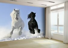 White and Black Horses Wallpaper Mural Photo 7486974 budget paper