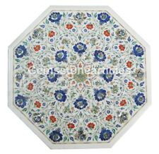 """15"""" White Marble Carnelian Lapis Table Top Inlay Marquatry Occasional Home Decor"""