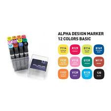 Graphic Art Marker Alpha Design Marker Twin Tip 12 Colour Basic illustration