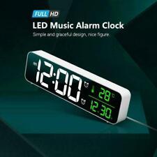 Led Digital Alarm Wall Clock Temperature Music Table Decor Home Lamp Clocks N4H1