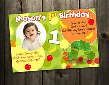 VERY HUNGRY CATERPILLAR BIRTHDAY PARTY INVITATION CARD CUSTOM INVITE BABY SHOWER