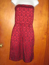 Funky sexy Gothic Deep RED & Black strapless dress side slit URBAN GIRL 11 / 12