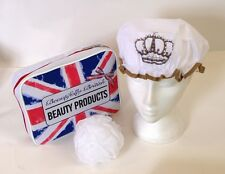 Union Jack Design Toiletry Cosmetic Bag with Crown Design Shower Cap & Scrunchie