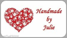 65 X Personalised Stickers Mini Handmade by Hand Print Red Heart Labels