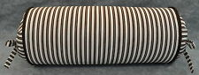 Neck Roll Pillow made w/ Ralph Lauren Metropolitan Brown & White Stripe Fabric
