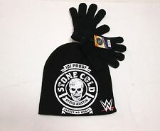 Brand New WWE Youth Stone Cold Steve Austin Knit Beanie  Hat And Gloves Set OSFA