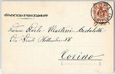 ITALIA REGNO storia postale   Sass 89 Bordo di Foglio  ISOLATO su CARTOLINA 1903