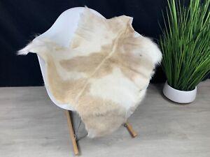 Genuine White Brown Goat Hide Rug Pelt Real Natural