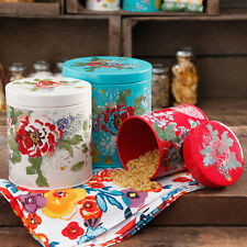 Pioneer Woman 3-Piece Floral Storage Canister Set Coffee Tea Flour Sugar Spices