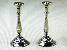 Dolls House Miniature 1/12th Scale Set of 2 Silver Coloured Candle Sticks LA35