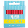 PLAIN 36 PIECES -  BIRTHDAY CANDLES - RED - 2 HIGH