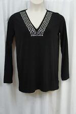 Michael Kors Top Sz M Black Sliver Studded Jersey Long Sleeve Tunic Blouse