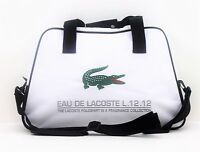 LACOSTE WHITE WITH GREEN CROCODILE MENS SPORT/GYM TRAVEL OVERNIGHT BAG HOLDALL