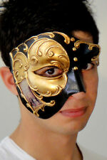 Masquerade Mask ITALIAN Made Phantom Mask - Venetian Gold OVERNIGHT Metro Del