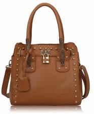 Ladies Handbag Work Designer Brown Studded Tote Bag With Padlock 00262