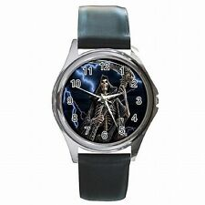 Grim Reaper Skeleton Halloween Leather Watch New!