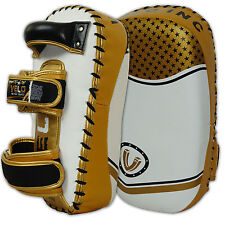 VELO Leather Arm Pad Curved Thai Kick Boxing Strike MMA Focus Muay Punch Shield