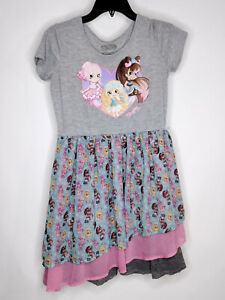 Shopkins Girls Dress Short Sleeve T-Shirt Fit Flare Gray Size XL 14-16 Pre-Owned