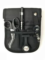 Black Nurses kit - pouch + watch + scissors + penlight + retractable ID holder