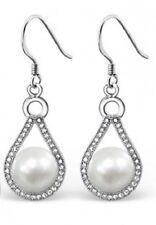 NEW! Sterling Silver Pearl & Cubic Zirconia Teardrop Earrings