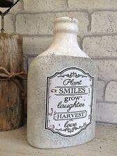 Grey Rustic Clay Vase Ceramic Bottle Crackle Glaze Earthenware Shabby Vintage
