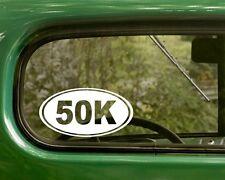 50k Marathon Decal Sticker Running 2 Ovals Vinyl Die Cut, Car, Laptop