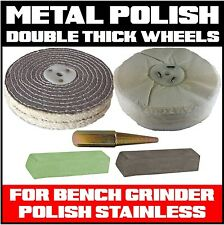 Metal Polishing Kit for Bench Grinder Buffing (double Thick Wheels) Stainless