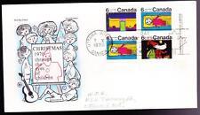 Canada 1970 FDC sc# 524/526/527 Christmas 6¢ LR block, Cole cachet