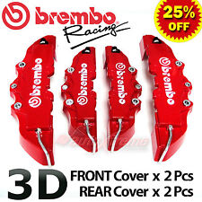RED Brembo Style Universal Disc Brake Caliper Covers 4PCS Front & Rear NEW 3D