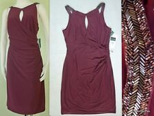 NWT($174) RALPH LAUREN Size 16 Jeweled Straps Key-hole Ruched Side Evening Dress