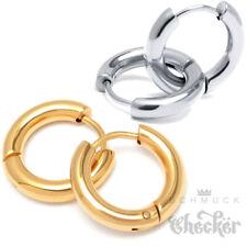 Edelstahl Creolen Silber Gold Poliert Herren Damen Ohrringe Klappcreole Geschenk