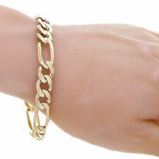 "Men's 14k Yellow Gold Solid Figaro Bracelet Link Chain 9"" 9.6mm 26.2 grams"