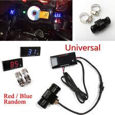 Blue/Red Digital Motorcycle Water Temp Gauge+22mm Sensor Head Plug Tee Connector