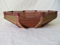 Vintage Hand Crafted Popsicle Stick Basket Oblong Octagon #6402