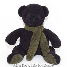 "Pottery Barn Plum Purple Green Scarf Teddy Bear Plush Toy Stuffed Animal 14"" EUC"