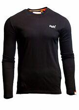 Superdry Mens Orange Label Vintage Embroidered T Shirt Long Sleeve Black
