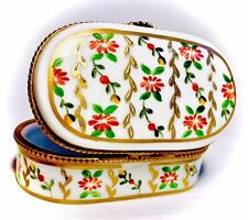Limoges France French Thick Needle Chest Trinket Box Peint Main Limoge Daisies
