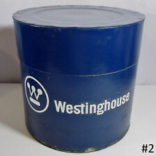 "VTG Mid-Century Westinghouse Electric 9.5"" Fiberpak Advertising Barrel Canister"