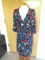 Ladies H&M Dress Maternity Pregnancy Size L 14 16 Black Floral Faux Wrap