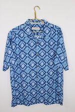 ~Tommy Bahama~Men's Size L~Blue~Button Front~MINT~Summer~Beach~Shirt~100% SILK~