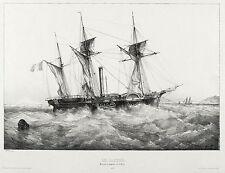 Lithographie de bateau à vapeur - frégate à roue Castor - Ferdinand Perrot - 1835