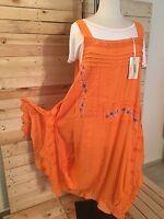 *Zedd..Plus* zauberhaftes Leinen-Träger-Kleid, 2-teilig, Gr 48-52 (3), orange